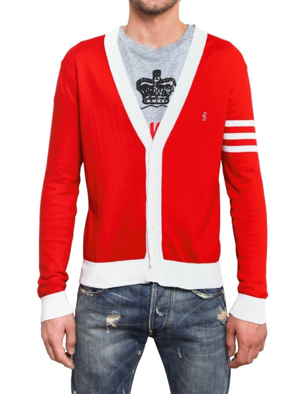Balmain Cotton Knit Logo Cardigan Sweater in Red for Men | Lyst