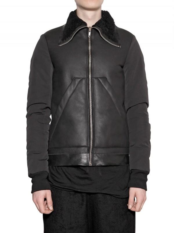 Rick owens Lambskin Shearling Coat in Black for Men | Lyst