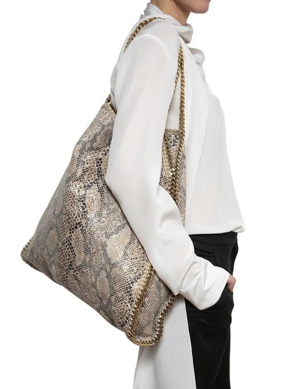 b6652aa6b078 Lyst - Stella McCartney Eco Python Falabella Shoulder Bag in Brown