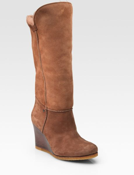 ugg aprelle foldover suede wedge boots in brown chestnut