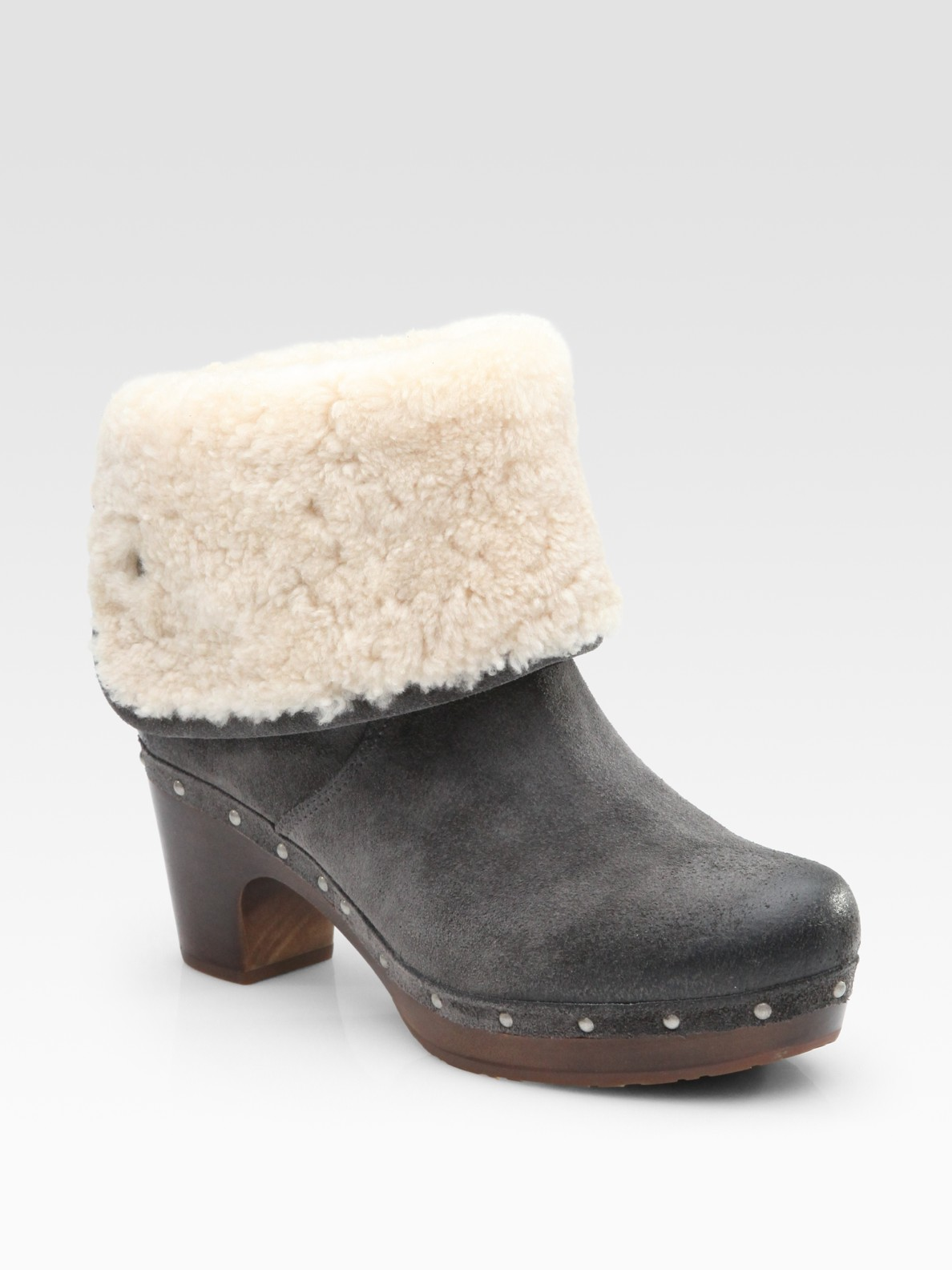 ugg lynnea suede and shearling clog ankle boots in gray