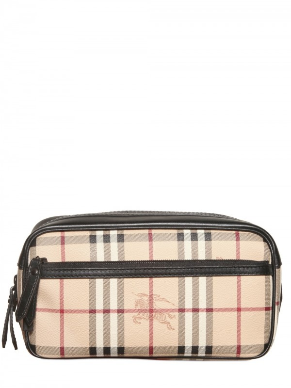 Gallery. Burberry Coalburn Classic Check Toiletry Bags in Natural for Men
