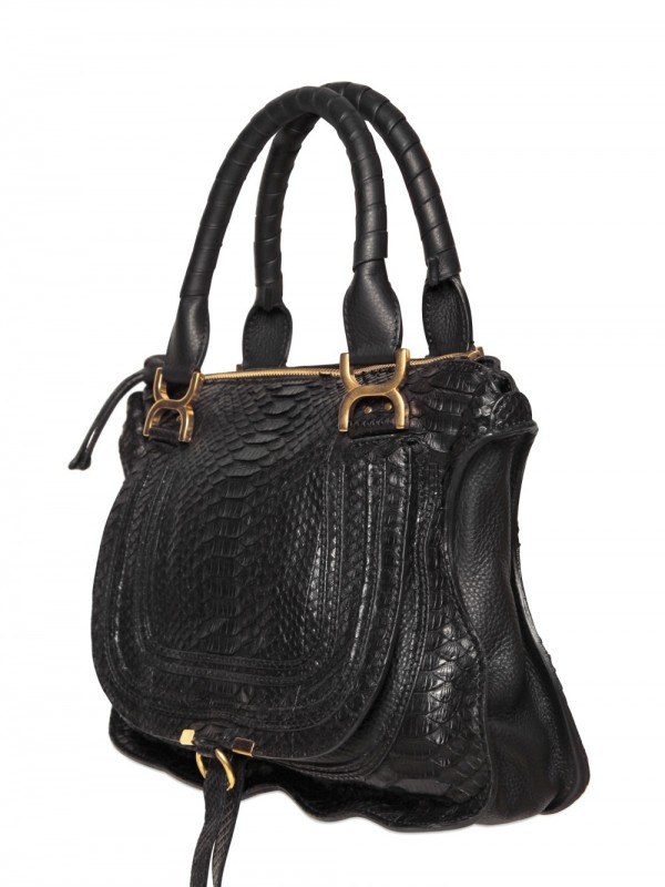 3a9b48005fb Lyst - Chloé Medium Python Marcie Top Handle in Black