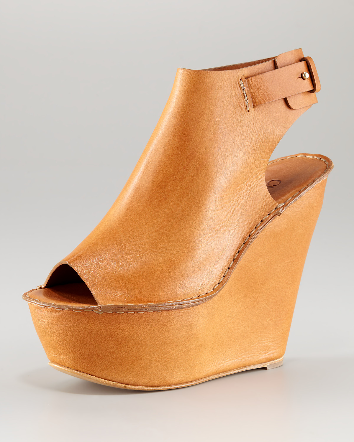 cheap the cheapest Chloé Suede Peep-Toe Wedges big sale cheap online ZihO7nU