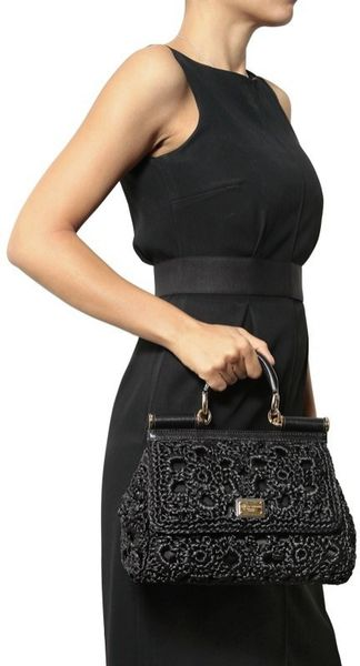 Dolce Amp Gabbana Medium Miss Sicily Raffia Top Handle In
