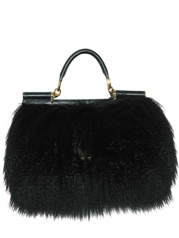 035278e34fec Lyst - Dolce   Gabbana Miss Sicily Mongolia Fur Top Handle in Black