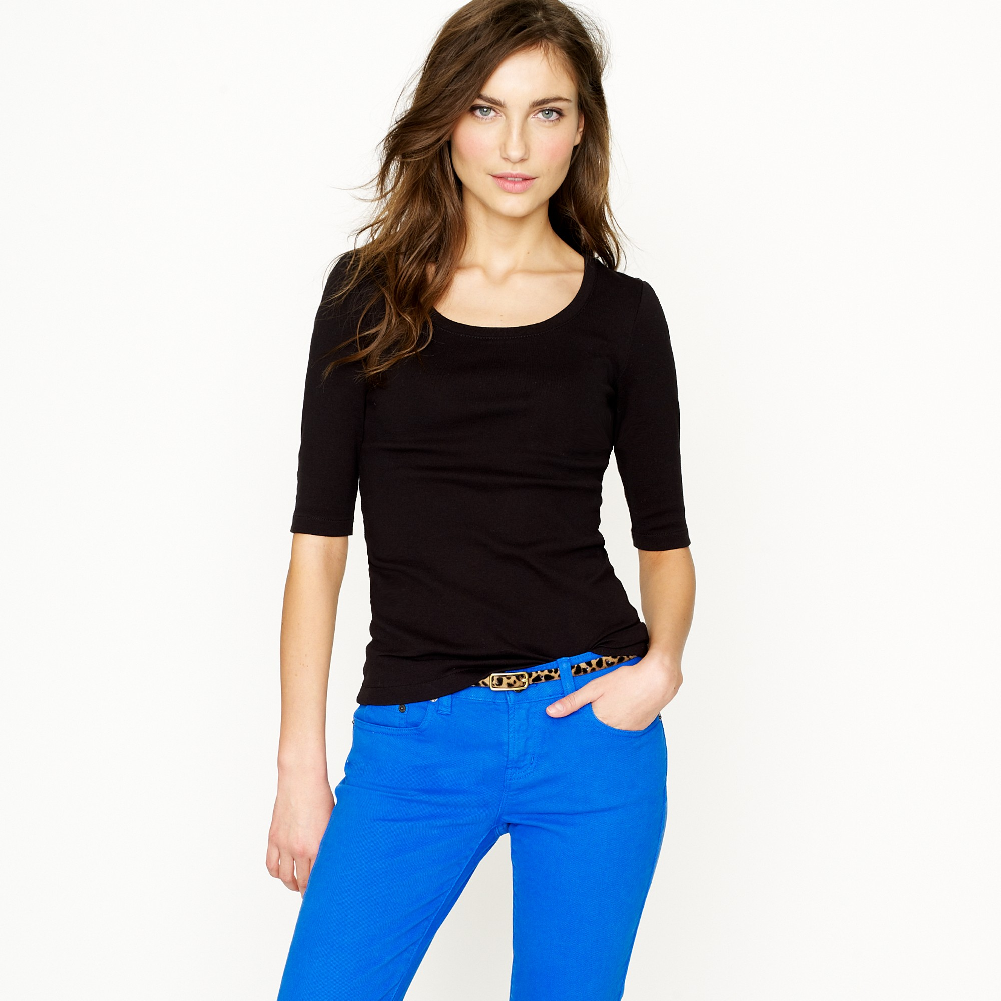 0480bbeb5b82 J.Crew Perfect-Fit Ballet Button Tee in Black - Lyst