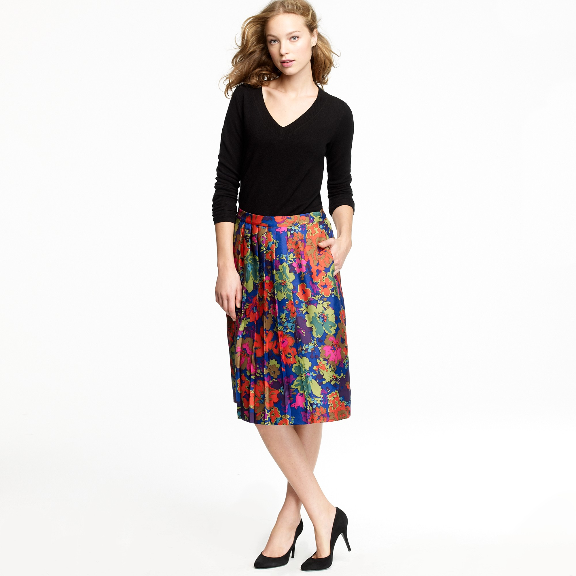 J.crew Pleated A-line Skirt in Ashbury Floral in Blue | Lyst
