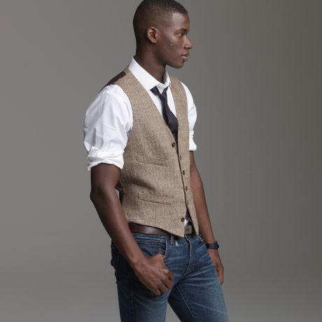 J Crew Linen Herringbone Suit Vest In Brown For Men Brown Herringbone
