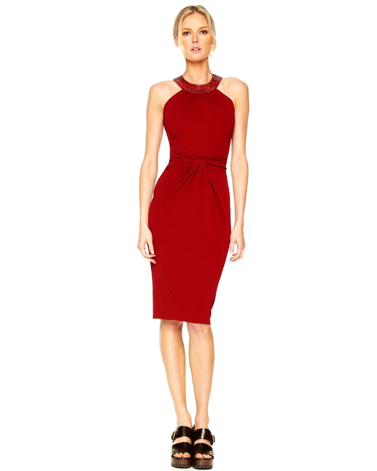 Michael kors Twist-front Halter Dress in Red (natural) | Lyst