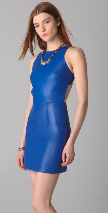 Lyst Porter Grey Leather Dress With Cutout Back In Blue