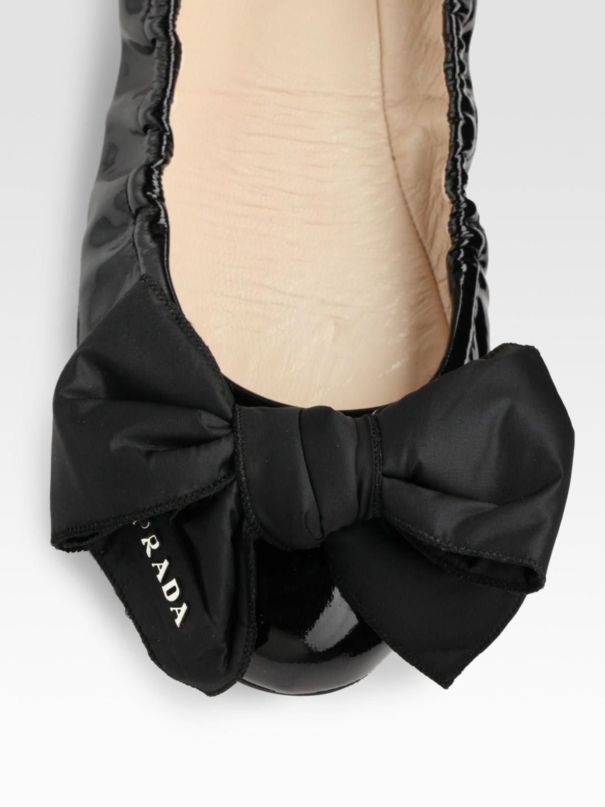 Prada Patent Leather Bow Ballet Flats