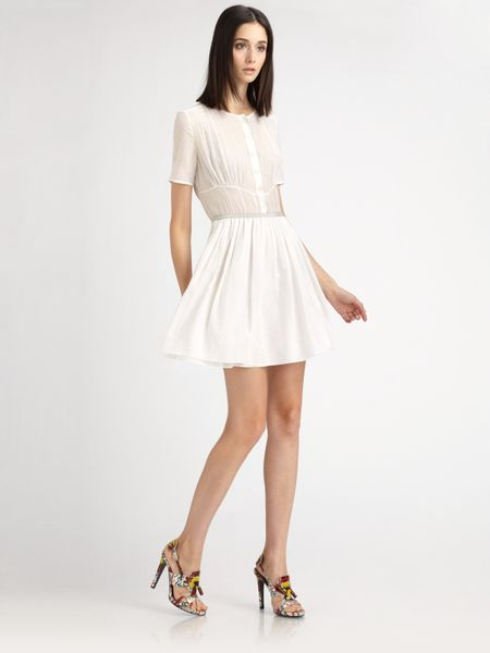Proenza Schouler Cotton Voile Dress in White - Lyst