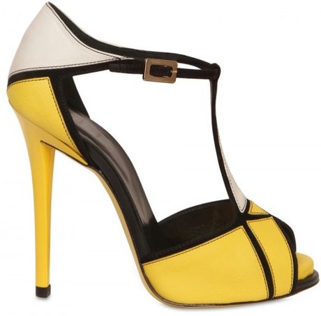 Roger Vivier 120mm Prismick Leather & Suede Sandals in Yellow