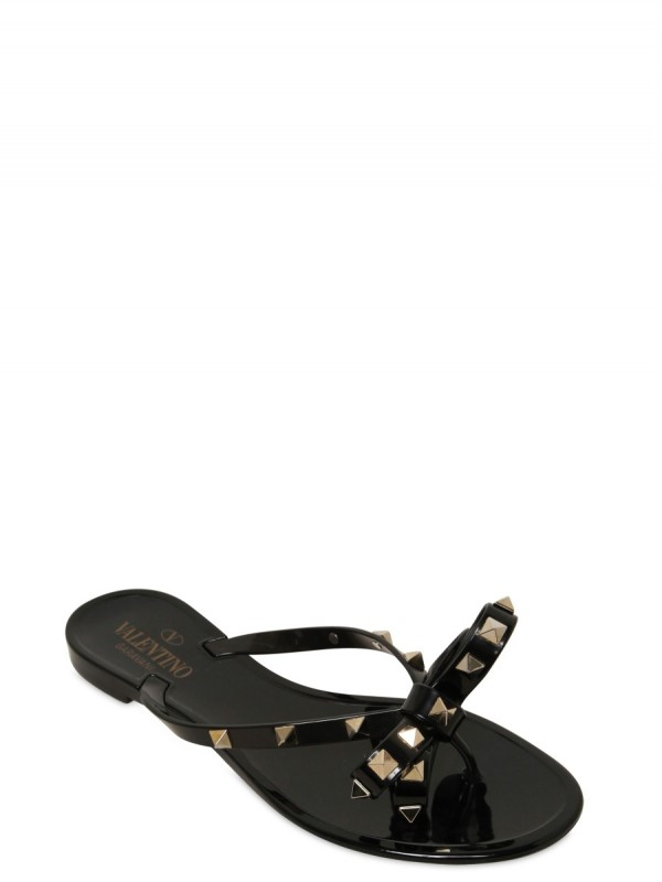 Lyst - Valentino Rubber Bow Studs Flip Flop Flats In Black-3169