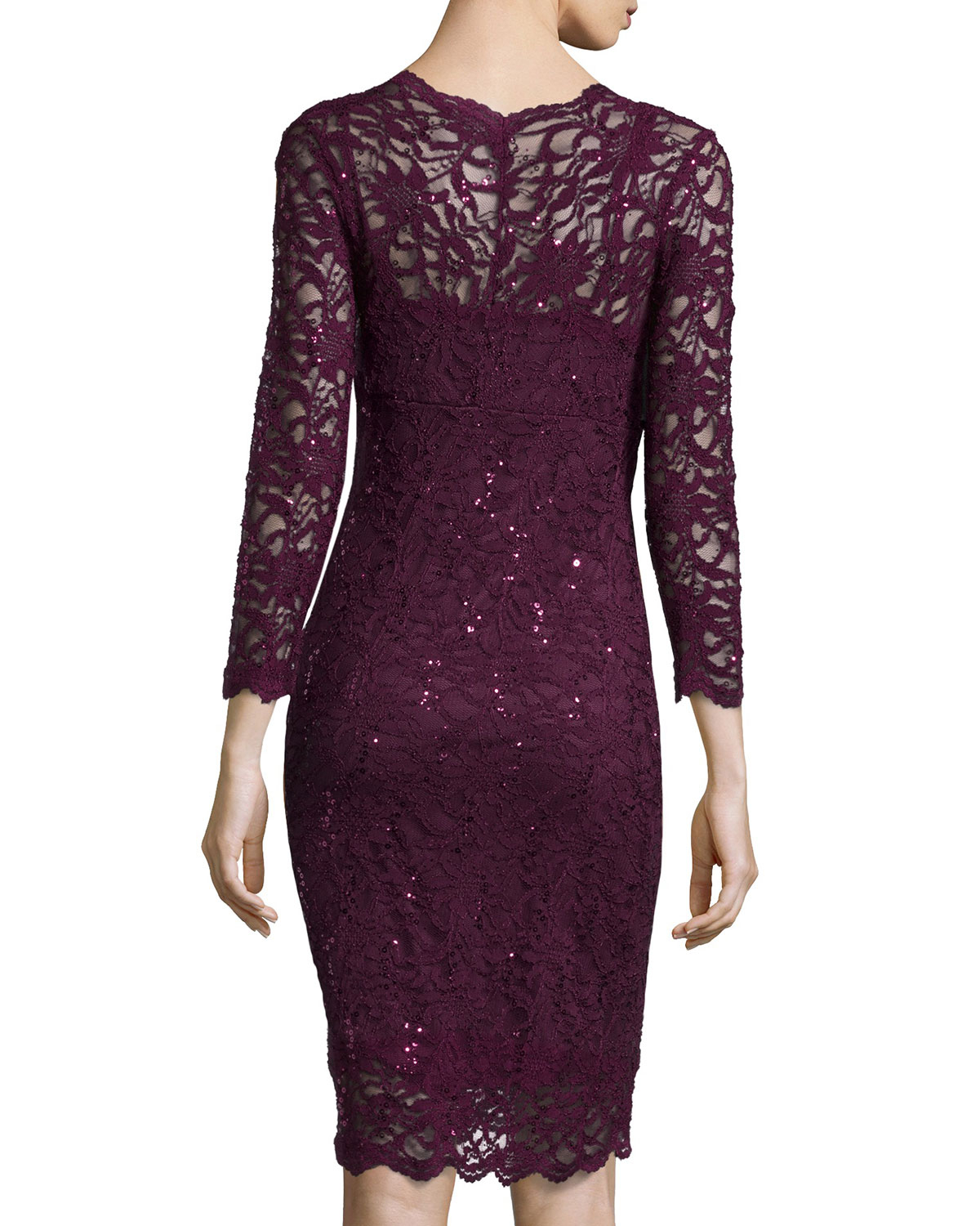 Lyst marina long sleeve v neck lace cocktail dress in purple gallery ombrellifo Image collections