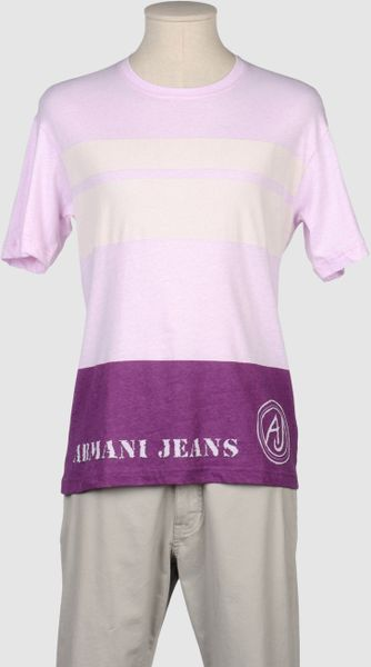 Armani Jeans Short Sleeve T Shirts in Purple for Men - Lyst