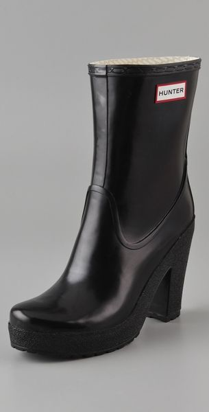 Hunter Arnie High Heel Boots in Black
