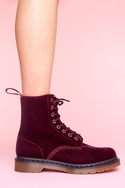 Nasty Gal Page 8 Eye Boot Cherry Red Velvet In Red