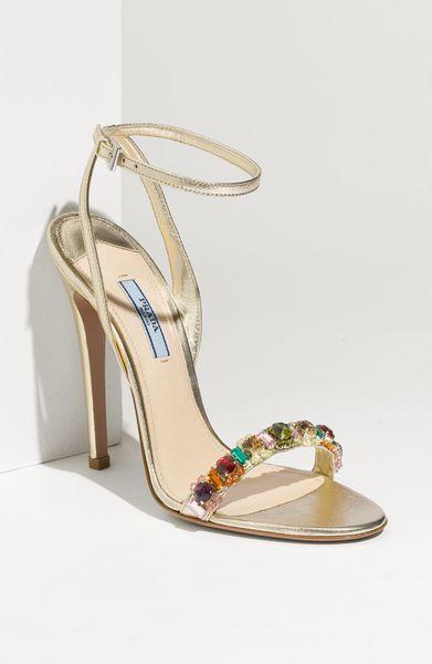0d9650d24ba6 Prada Ankle Strap Sandal in Gold (gold leather)