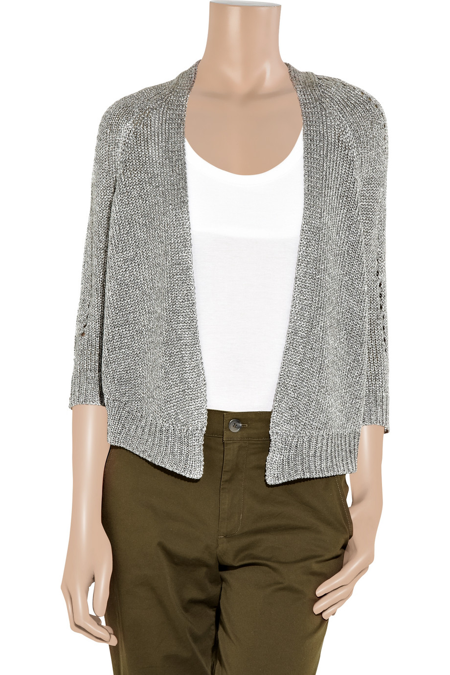 Vince Metallic Knitted Cardigan In Metallic Lyst