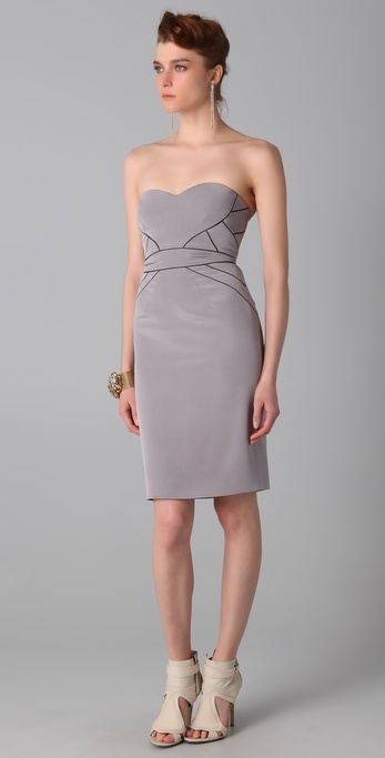 Zac posen Strapless Dress in Gray | Lyst