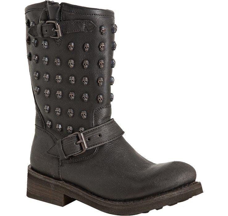 ash black leather skull studded biker boots in black lyst