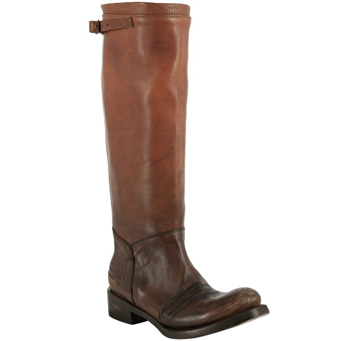 Ash Scott Distressed Leather Knee High Riding Boots Brown