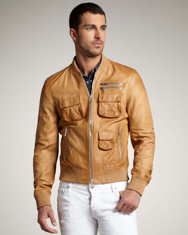 Mens beige leather jacket