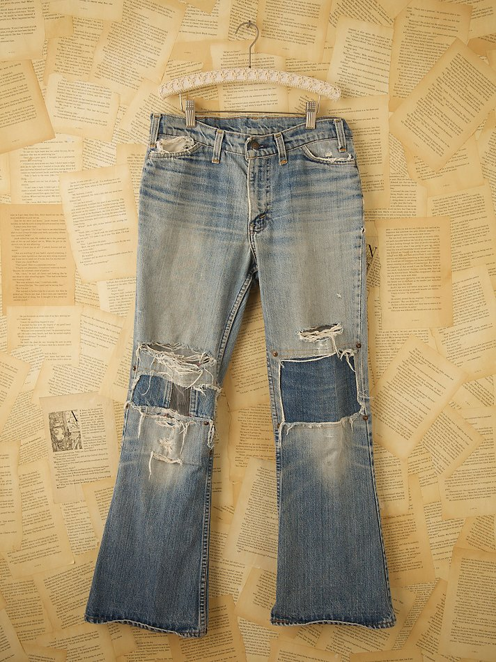 Free People Vintage Levis Patched Jeans in Blue (denim)