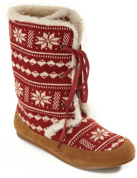Lucky Brand Gwendi Bootie Slippers In Red American Beauty