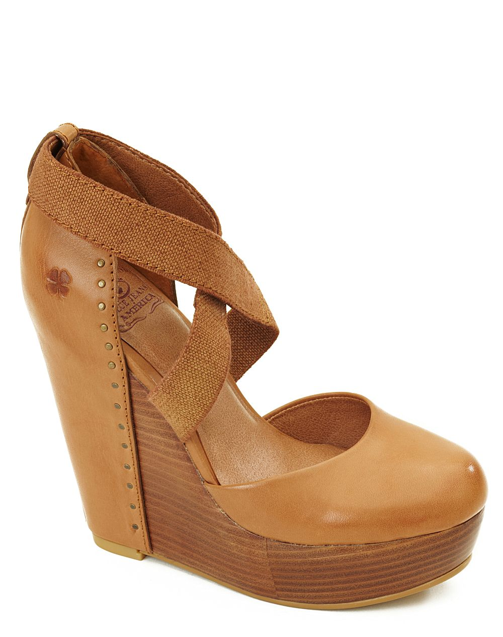 3cdb624efce1 Lyst - Lucky Brand Nana Leather-covered Wedges in Brown