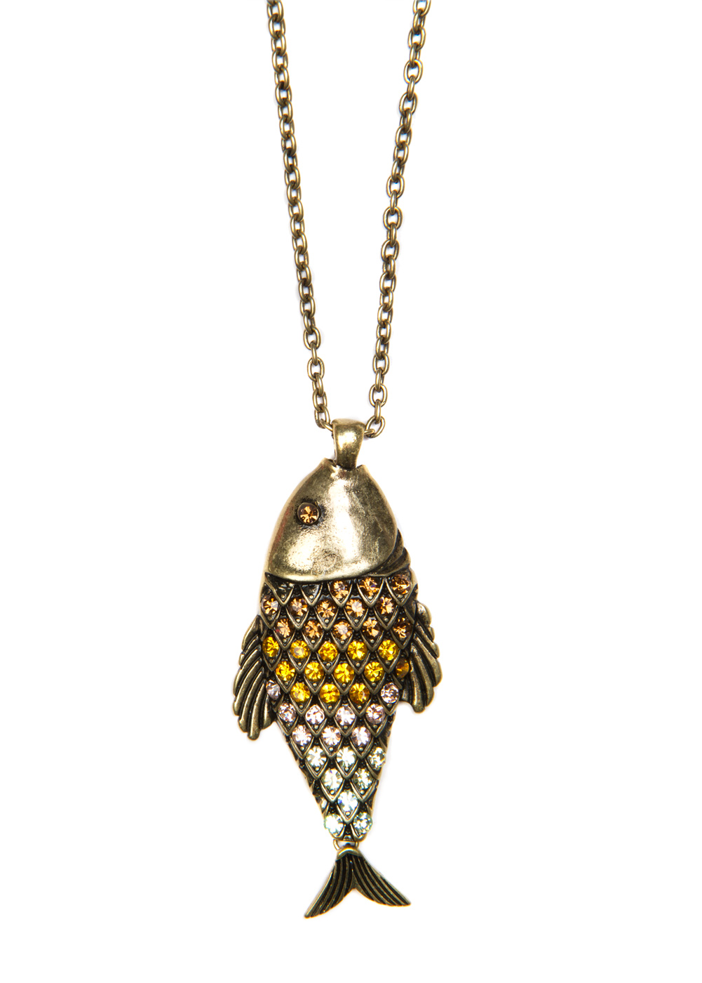 Lyst mango fish necklace in metallic for 94 1 the fish