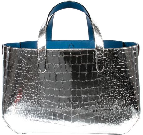 Marc Jacobs Silver Metallic Croc-embossed Calfskin in Gold