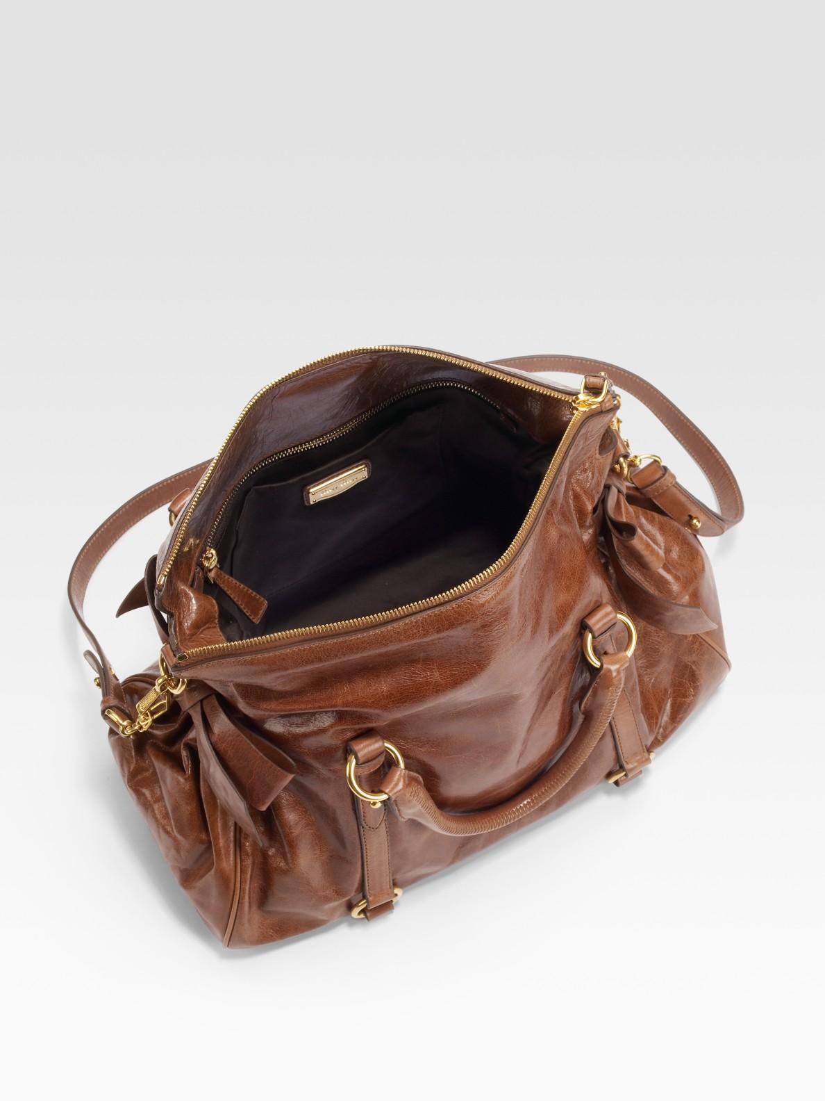 332c2f29f9fc Lyst - Miu Miu Vitello Lux Large Bow Bag in Brown