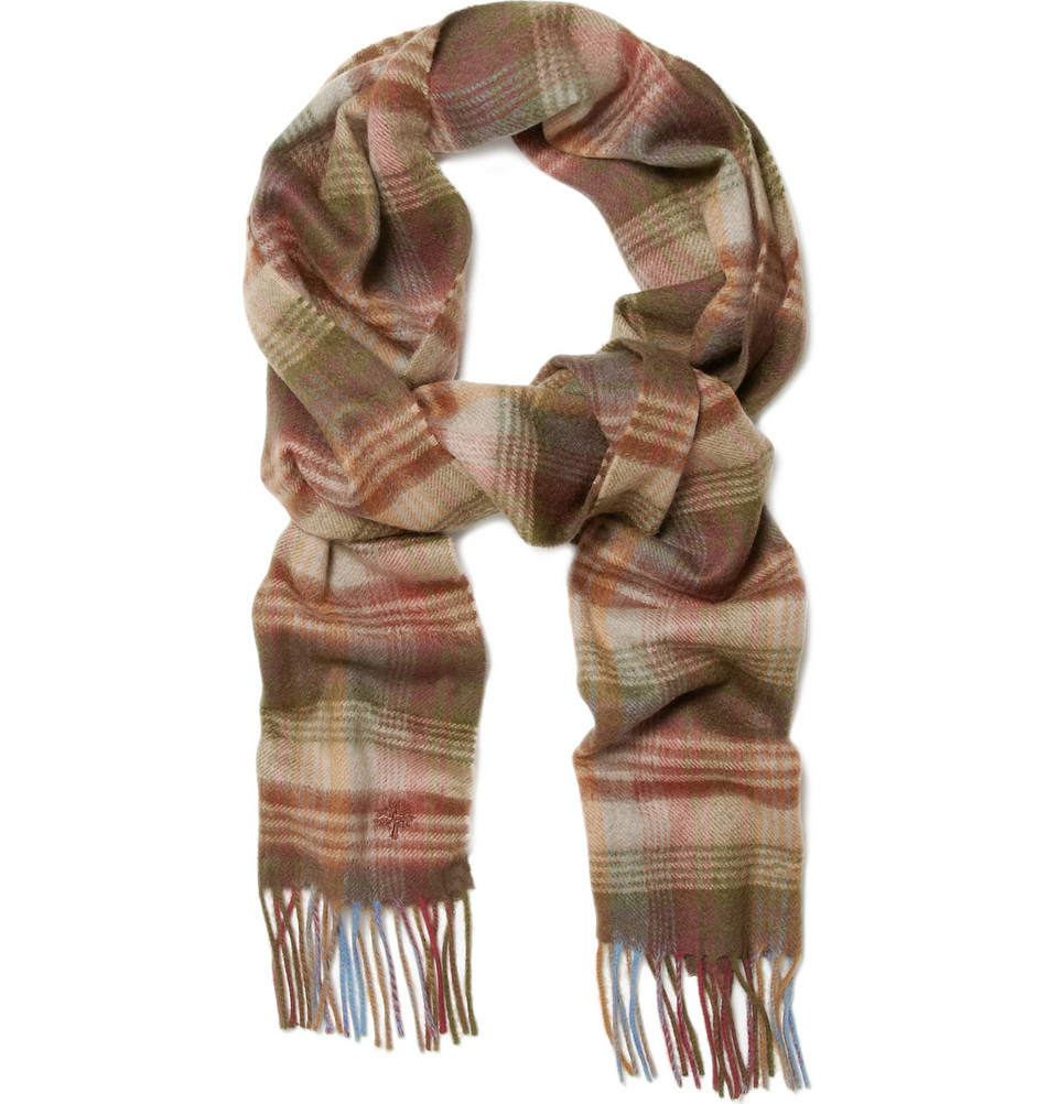 mulberry cashmere plaid scarf in brown for men lyst. Black Bedroom Furniture Sets. Home Design Ideas