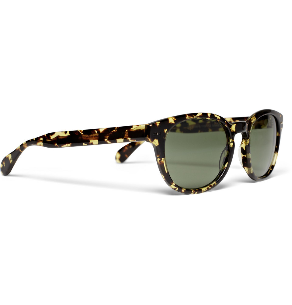 Oliver Peoples Sheldrake Round Frame Acetate Sunglasses in Green for Men