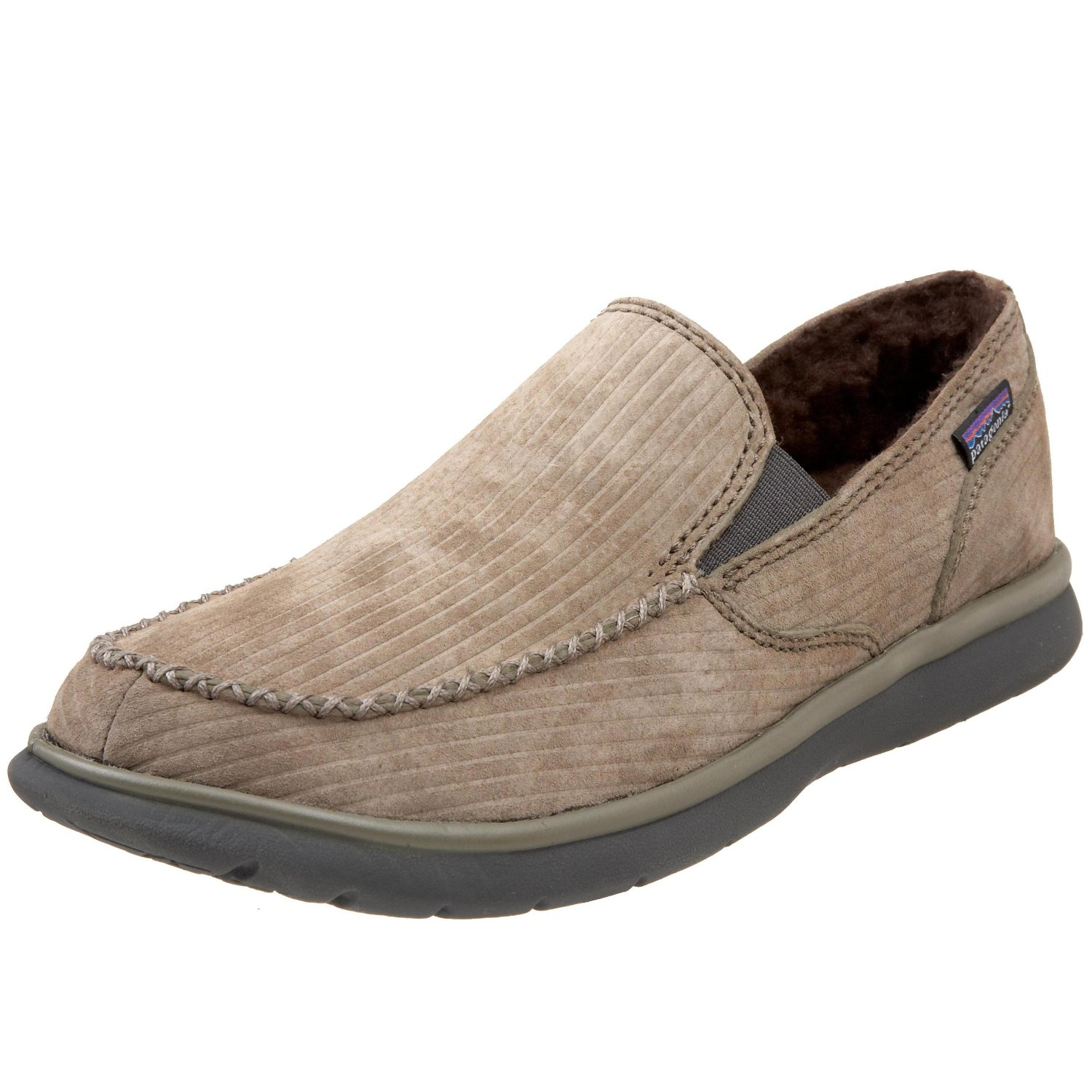 patagonia mens moc fleece lined shoe in beige for