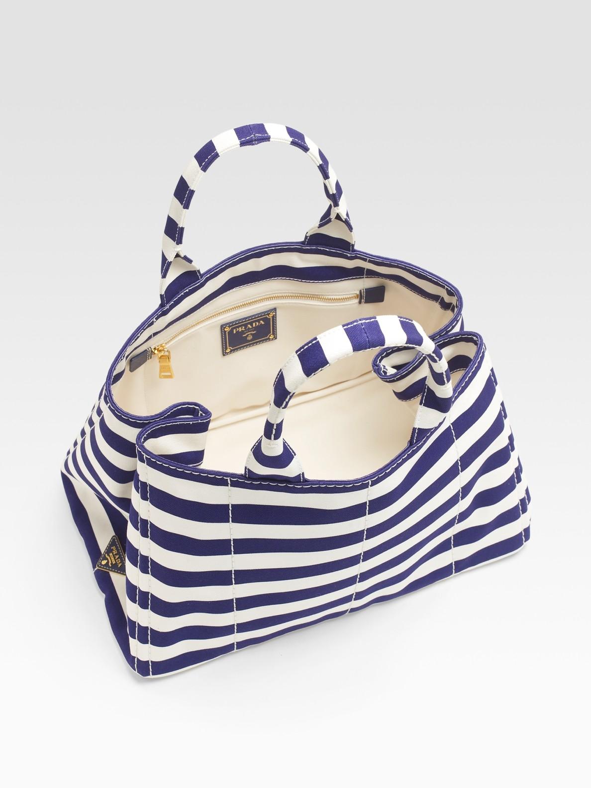 czech lyst prada stripe canvas tote bag in blue 53fa4 e9bd5 0cdf59f169f19