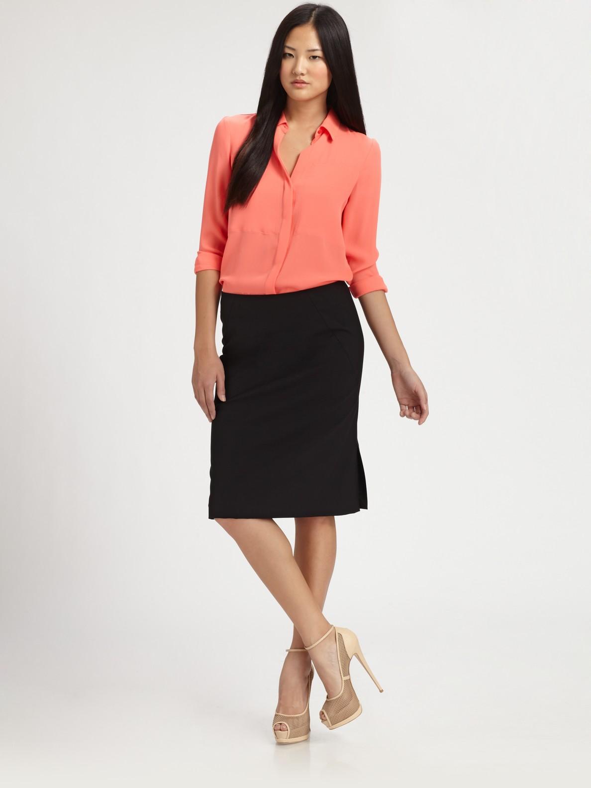 Theory durlia silk button down shirt in black lyst for Silk button down shirt
