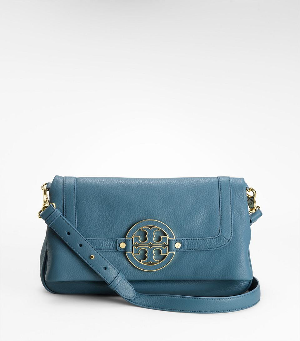 413099261c72c Lyst - Tory Burch Amanda Foldover Messenger Bag in Blue