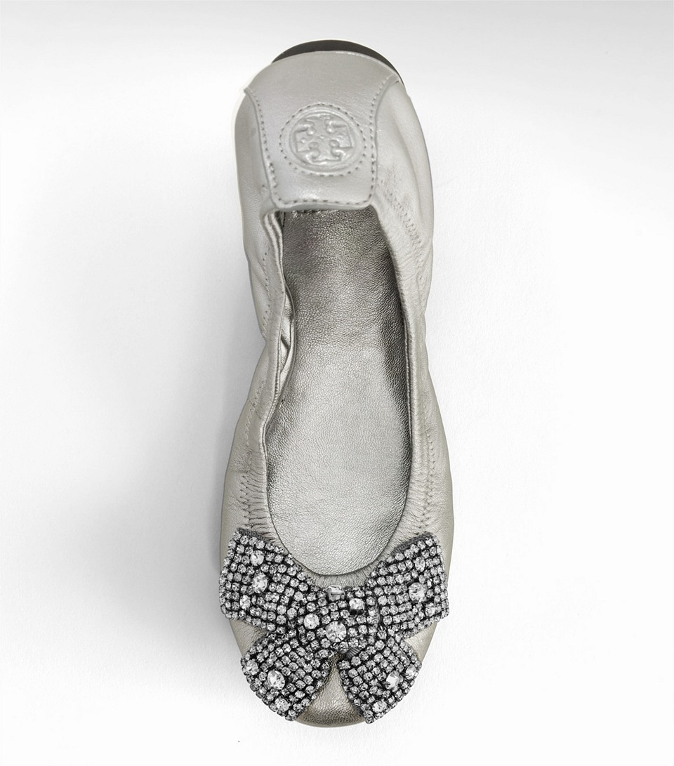 Tory Burch Metallic Eddie Ballet Flat With Crystal Bow In