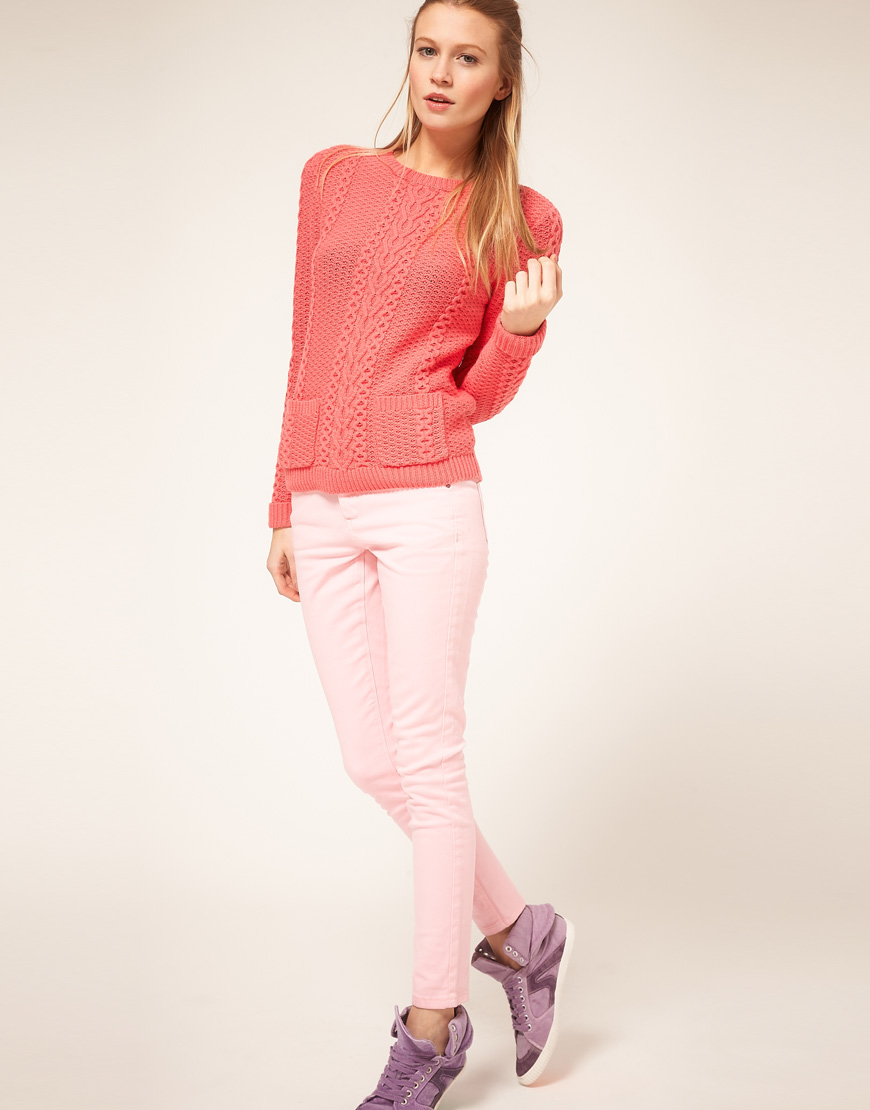 Lyst - Asos Collection Asos Petite Pale Pink Skinny Jeans -7524