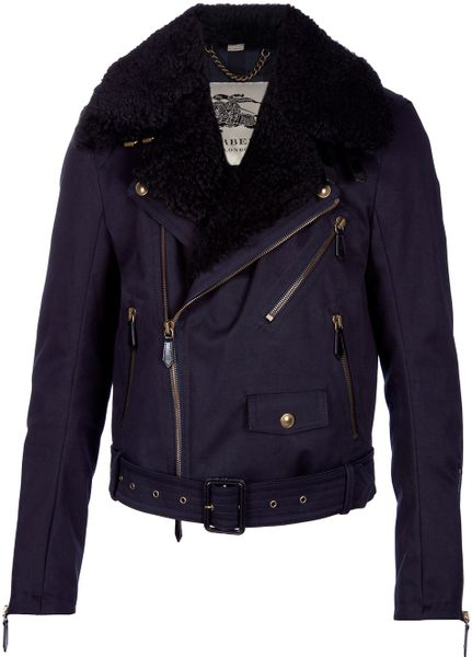 Burberry Biker Style Jacket in Blue for Men (midnight) - Lyst
