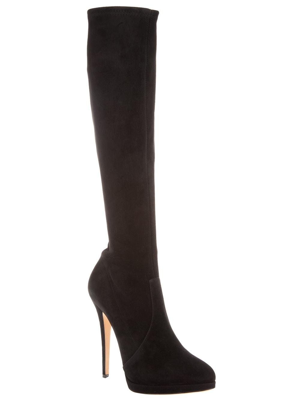 casadei knee high stiletto boot in black lyst