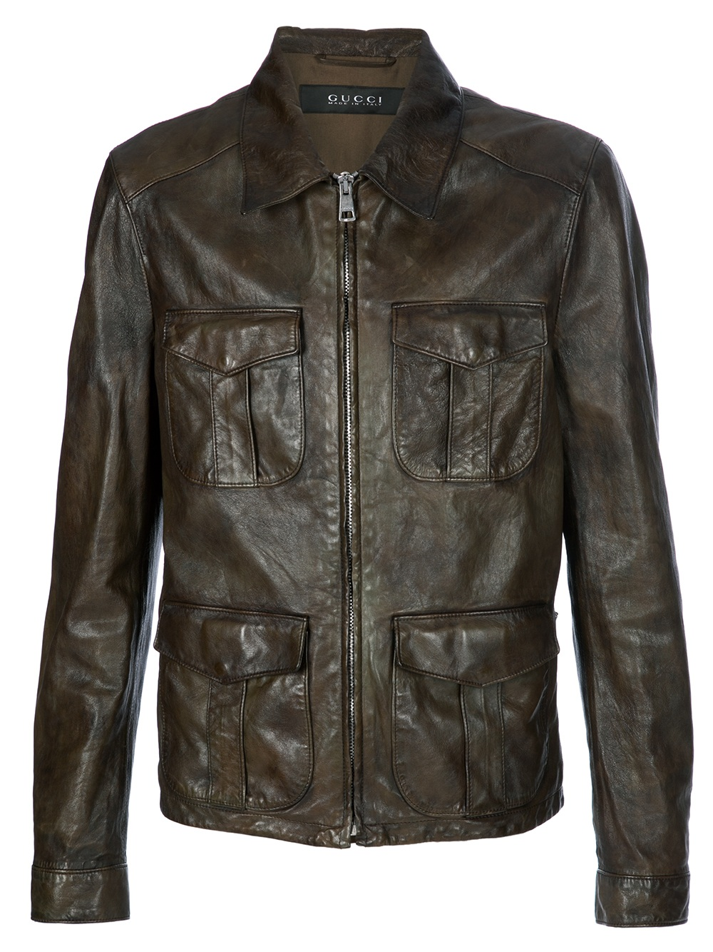 Gucci Leather Jacket in Brown for Men   Lyst