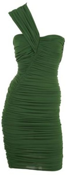 Lanvin Asymmetrical Ruched Jersey Dress in Green (grassgrn)