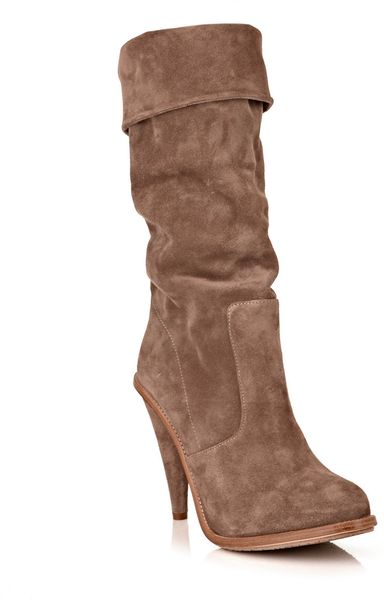 opening ceremony suede fold boots in brown taupe lyst