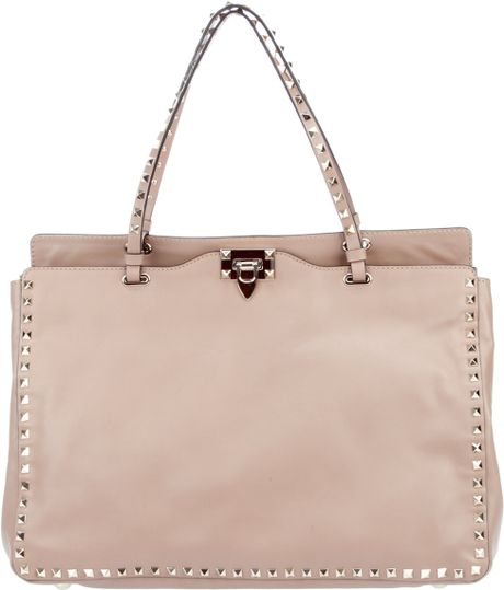 Valentino Studded Leather Tote in Beige (nude)