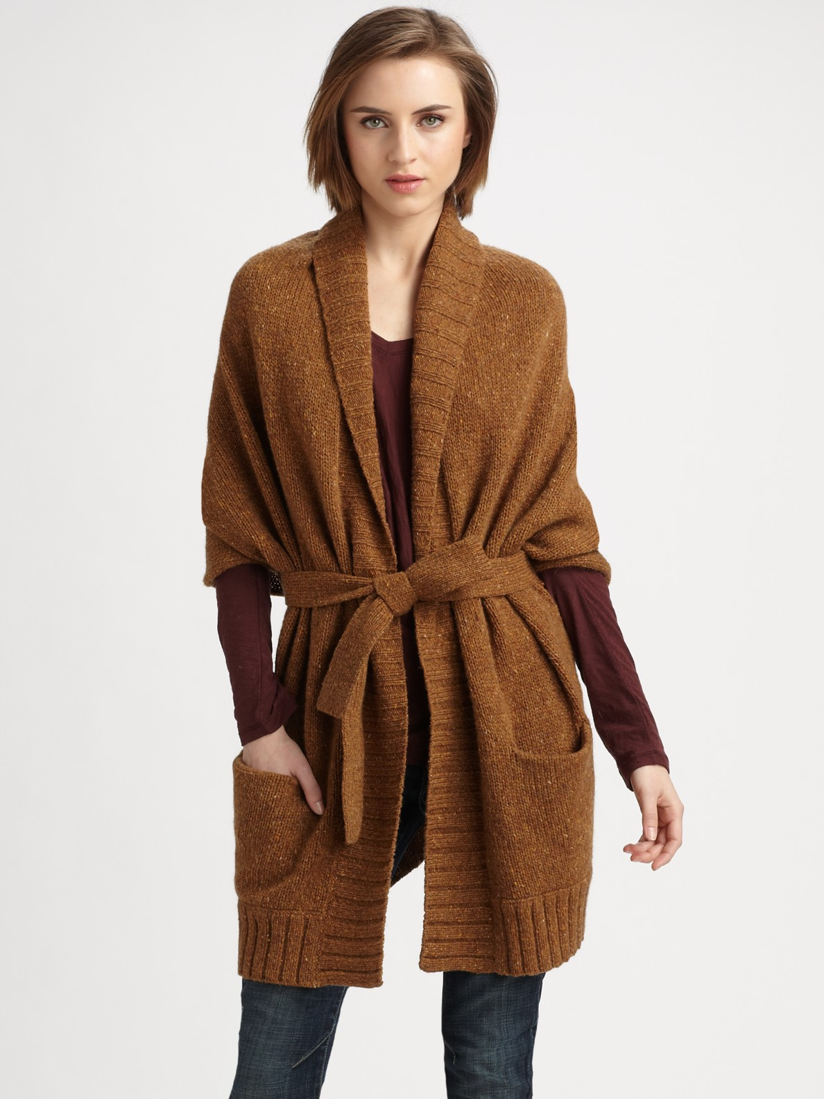 Vince Tweed Kimono Cardigan in Brown | Lyst